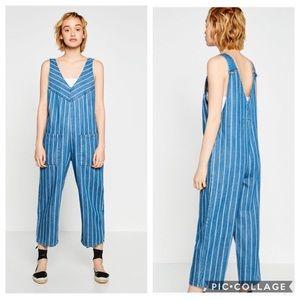Zara Striped Denim Overalls NWT M